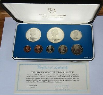 1981 Solomon Islands Proof Set, 8 coins with $5 + $10 Sterling Silver  (142050H)