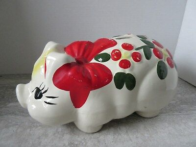 Old Vintage USA Pottery Large Pig Piggy Bank Hand Painted Bow & Flowers.