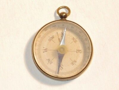 Nice 19Th Century Military Officer's Small Brass Compass