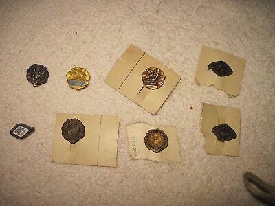 8 DELAWARE (Schools) Perfect Attendance Award Pins, VERY OLD, All r dif.