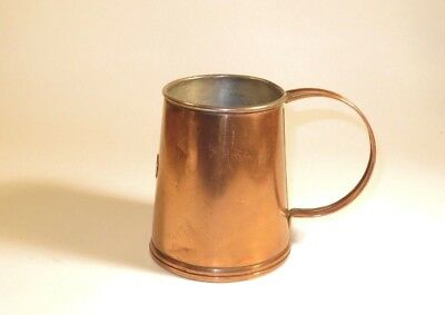Nice Antique Copper Pint Tankard Mug With Maker's Name