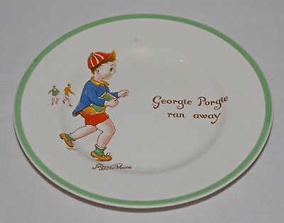 PEGGY GIBBONS SIGNED MIDWINTER CHINA PLATE UK GEORGIE PORGIE RAN AWAY 1940s-50s