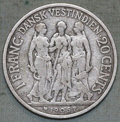 Danish West Indies- 1905 Silver 20 cents/1 Franc ~Combined S.& H.