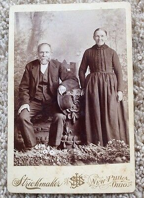 Vintage 1800's Cabinet Card Photo Older Couple Ma and Pa New Philadelphia Ohio
