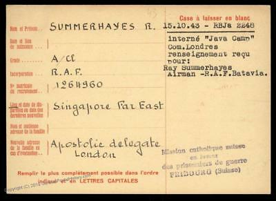 UK 1943 Singapore RAF Japanese POW Java Camp Red Cross Cover Catholic Swit 89259