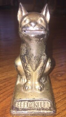 OLD ANTIQUE FEED THE KITTY COIN DIME BANK VINTAGE CAT complete original patina