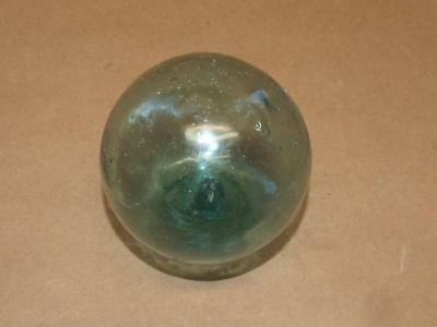 Vintage Nautical Hand Blown Aqua Green Glass Fishing Net Buoy Float Ball 3.25""