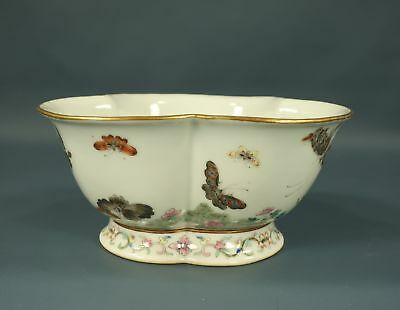 Chinese Porcelain 3 Lobed Bowl w/ Hand Painted Butterflies & Enamel Flowers MARK