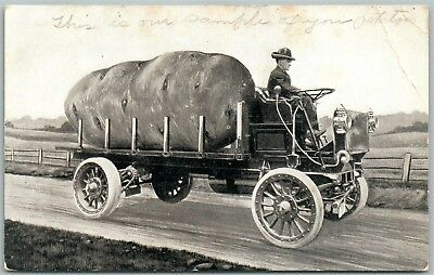 EXAGGERATED 1918 ANTIQUE POSTCARD w/ OLD AUTOMOBILE
