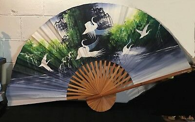 """Huge 60"""" Vintage Hand Painted Cranes on Fabric Folding Wall FAN Bamboo Frame"""