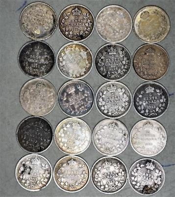 Canada 5 Cents Lot of 20 Silver Coins - Date Range 1903-1919