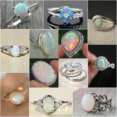 Woman Man White Fire Opal Moon Stone 925 Silver Ring Wedding Engagement Size6-10