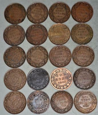 Canada Large Cent Lot of 20 Coins