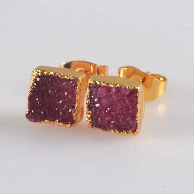 7mm Square Hot Pink Agate Druzy Geode Stud Earrings Gold Plated H120652