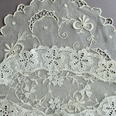 """2 Vintage Doilies 10"""" Creamy Ecru French TAMBOUR Lace Schiffli Embroidered Lace"""