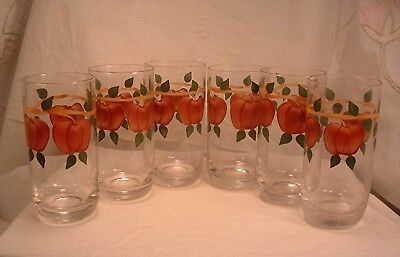 """6 Franciscan China Apple Pattern Imperial Glassware Hd. Ptd. Apple 5.5"""" Tumblers"""