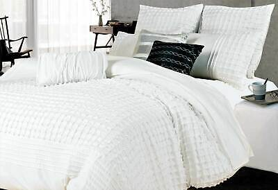 Cossette Waffle WHITE Doona Cover / QUEEN / SUPER KING Quilt Cover Set / Options