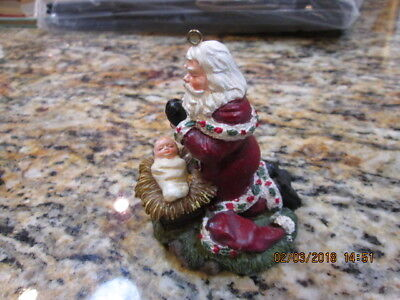 Kneeling Santa / Baby Jesus Christmas Ornament Old Country Style Costume resin