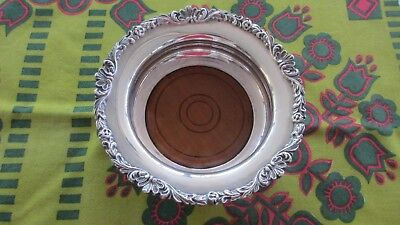 Vintage silver plated  & Oak Champagne / Wine Bottle Coaster by Strachan