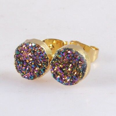 8mm Round Natural Agate Titanium Druzy Stud Earrings Gold Plated H116622