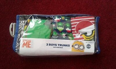 Pack Of 3 Boys Despicable Me, Boxer Trunks, Age 2-3 Years,new In Packet