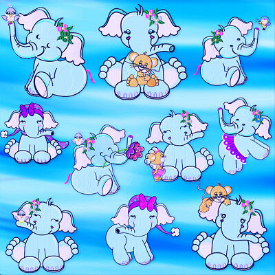 Adorable Baby Elephant 10  Machine Embroidery Designs Cd 3 Sizes