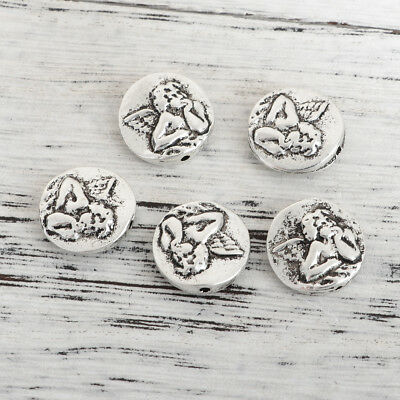 lot de 5 perles en argent tibetain 15 mm anges