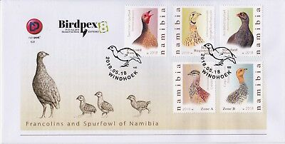 Namibia 2018 FDC BIRDPEX8 Francolins and Spurfowl of Namibia Windhoek, 18.05.18