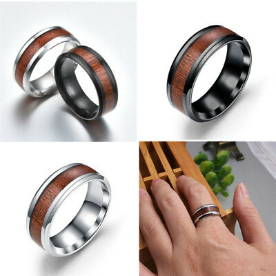 Titanium Stainless Steel Wedding Engagement Wood Inlaid Band Ring Size 6-13