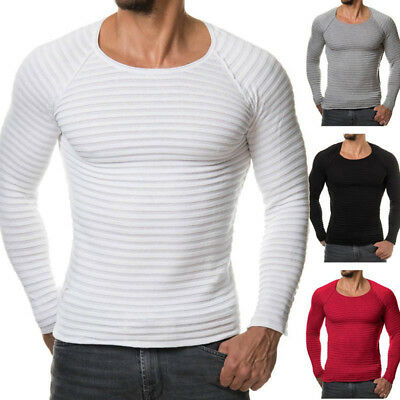 Men Long Sleeve Knitted Striped T-Shirt Crew Neck Tops Pullover Autumn Underwear