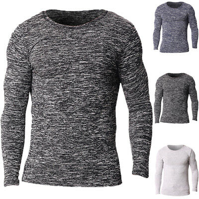 Mens Knit Crew Neck Bodybuiding Long Sleeve Sweater Jumper Tops Underwear Shirts