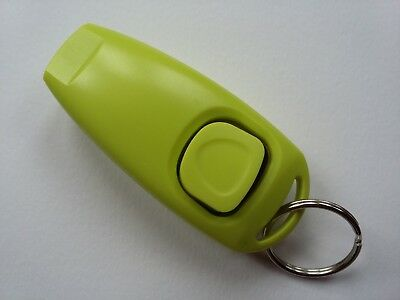 Dog Training Clicker With Whistle And Keyring Tag (Brand New) Green B