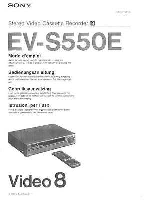 Instruction Manual in English for SONY EV-S550E Video 8