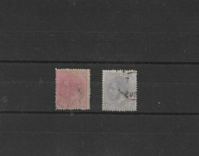 SPAIN , 1879, SG265 TY 49 10c PINK AND SG267 TY 49 25c GREY, USED