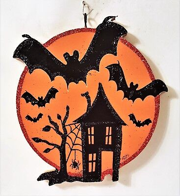 HAUNTED HOUSE w/ FLYING BATS, FULL MOON * Glitter HALLOWEEN ORNAMENT * Vtg Img