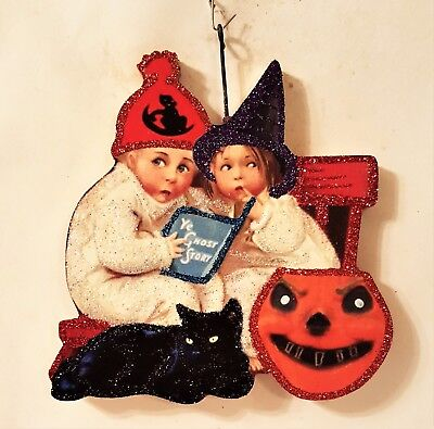 KIDS w/ GHOST STORY BOOK, CAT, JOL PUMPKIN  Glitter HALLOWEEN ORNAMENT * Vtg Img