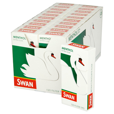 SWAN MENTHOL EXTRA SLIM PRE CUT CIGARETTE FILTER TIPS 120 x 20 ROLLING GENUINE