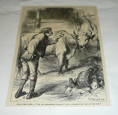 1878 magazine engraving ~ FARMER CURSING THE MILK COW