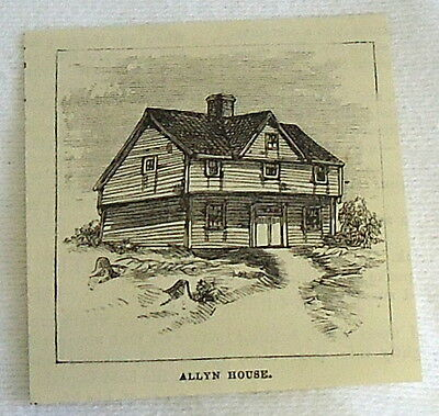 small 1882 magazine engraving ~ ALLYN HOUSE, Plymouth MA