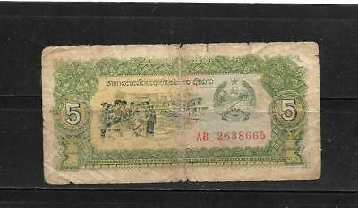 LAOS LAO #26a GOOD CIRC WORN 5 KIIP OLD BANKNOTE PAPER MONEY CURRENCY BILL NOTE