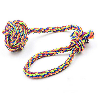 Dog Puppy Pet Chew Toy Knots Large Cotton Striped Rope Strengthen Teeth Ball FG