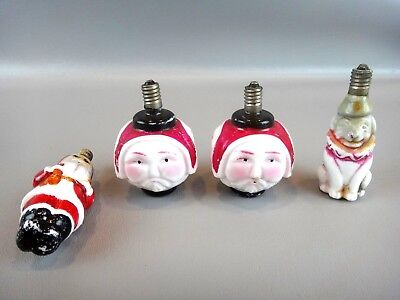 Vintage Christmas Figural Bulbs: Set of 4 ~WORKING ~Triple face Santa, Dog, etc