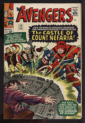 Avengers #13 Vs Count Nefaria Feb 1965 Glossy Cents Nice Off White Pages