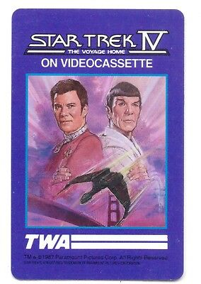 Star Trek Iv-The Voyage Home-On Video Cassette=Playing Card-Vintage