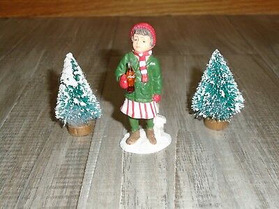 1992 COCA COLA TOWN SQUARE COLLECTION AFTER SKATING GIRL FIGURE with 2 XMAS TREE