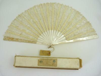 Vintage Duvelleroy Lace And Mother-Of-Pearl Fan, In Original Box, Circa 1919