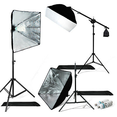 Photography 3 Softbox Photo Studio Continuous Lighting Kit with Boom Light Stand
