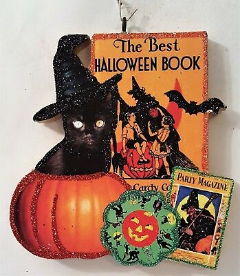 BLACK CAT in PUMPKIN, HALLOWEEN BOOK, BAT * Glitter HALLOWEEN ORNAMENT * Vtg Img