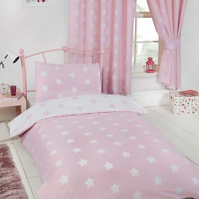 Stars Pink & White Single Duvet Cover Set Bedroom Childrens - 2 In 1 Design