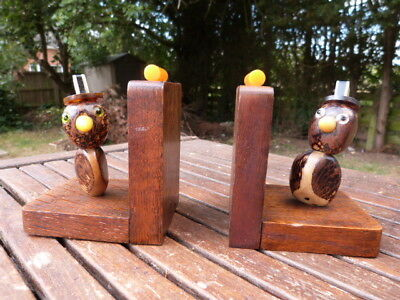 Lovely Pair Of Unusual Vintage Art Deco Bookends With Birds Made From Nuts.
